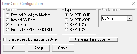 TimeCode Configuration
